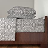 Roostery Pebbles 4pc Sheet Set Castle Gray (Light) Pebbles In Mirror Repeat by Anniedeb Queen Sheet Set made with