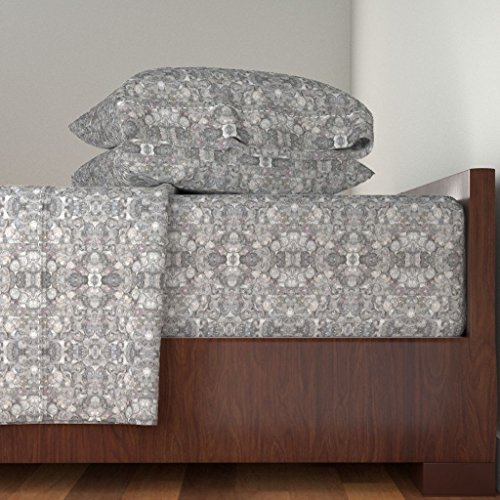 Roostery Pebbles 4pc Sheet Set Castle Gray (Light) Pebbles In Mirror Repeat by Anniedeb Queen Sheet Set made with by Roostery