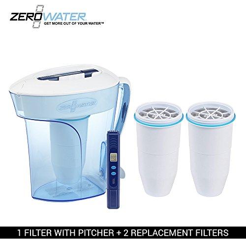 ZeroWater 10-Cup Pitcher with 3 Replacement Filter and Free Water Quality Meter by ZeroWater