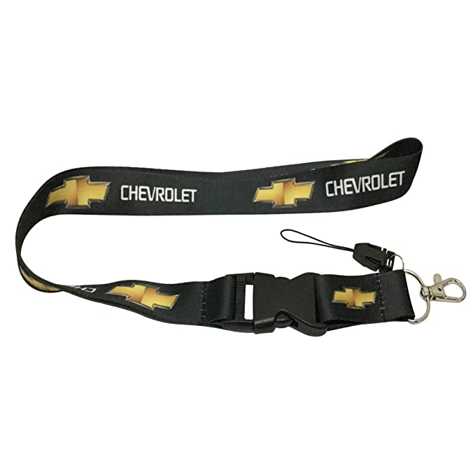 1pcs Black Color USA Ship New Quick Release Neck Strap Lanyard Keychain Keyring Car Keys House Keys ID Badges Card For Chevrolet Design