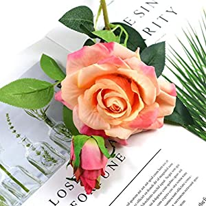 Adarl 1pc Artificial Rose Flower Fake Silk PU Feel Moisturizing Rose Flower Bouquet for Home Office Decor Party Festival Wedding Decoration Champagne 2