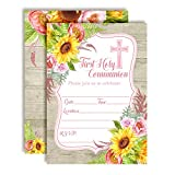 Watercolor Sunflower & Peony First Holy Communion Religious Party Invitations with Wood Background, 20 5''x7'' Fill in Cards with Twenty White Envelopes by AmandaCreation