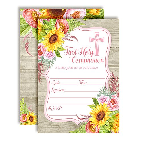 Watercolor Sunflower & Peony First Holy Communion Religious Party Invitations with Wood Background, 20 5