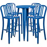 Flash Furniture 24'' Round Blue Metal Indoor-Outdoor Bar Table Set with 4 Vertical Slat Back Stools