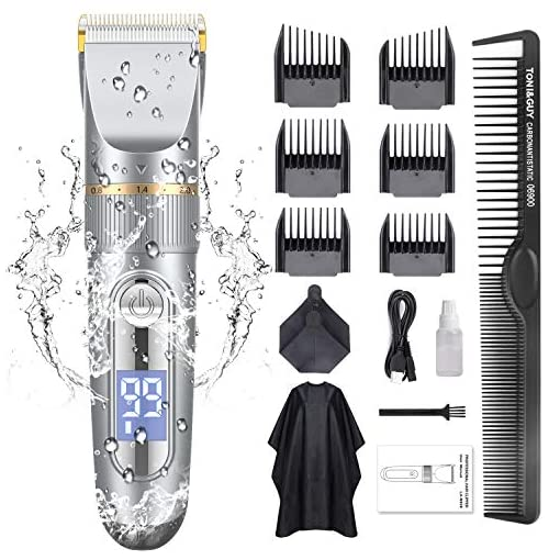 GOOLEEN Hair Clippers for Men Cordless Hair Clippers Beard Trimmer Professional IPX7 Waterproof USB Rechargeable Hair Cutting Kit with Hairdressing Cape LED Display - 51Sa7LMEXUL - GOOLEEN Hair Clippers for Men Cordless Hair Clippers Beard Trimmer Professional IPX7 Waterproof USB Rechargeable Hair Cutting Kit with Hairdressing Cape LED Display