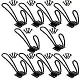 Exttlliy Iron Vintage Loop Design Metal Hanging Coat Hook Matte Black Wall Hooks Bathroom Kitchen (10Pcs)