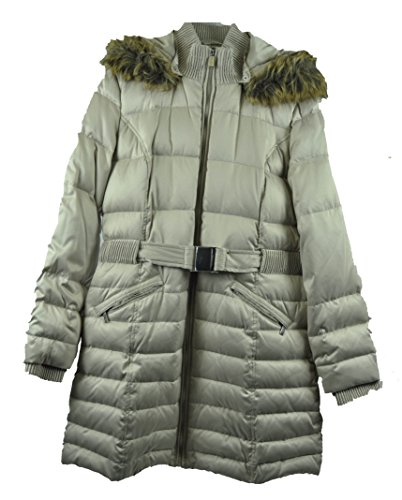 DKNY Hooded Faux-fur-trim Belted Down Puffer Coat Beige - Coats Down Dkny
