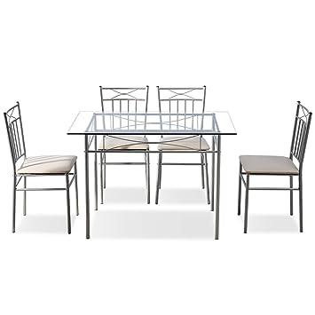 Amazon.com: Veryke Juego de mesa de comedor de 5 piezas ...
