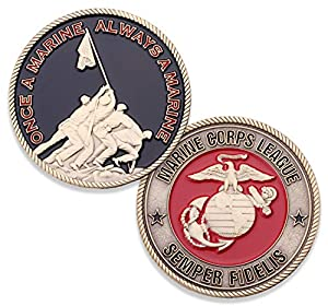 Marine Corps League Challenge Coin - USMC Military Coin - Iwo Jima Semper Fi Challenge Coin - Designed by Marines FOR Marines - Officially Licensed by Coins For Anything Inc