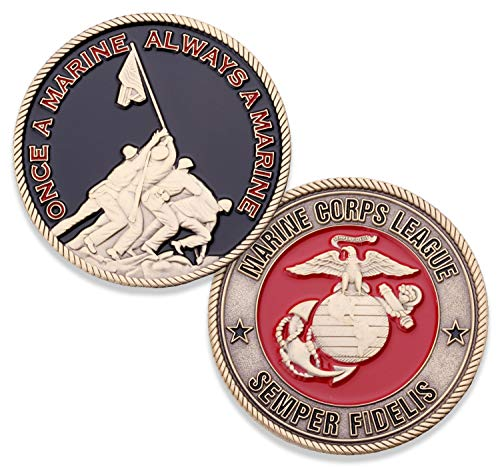 Marine Corps League Challenge Coin - USMC Military Coin - Iwo Jima Semper Fi Challenge Coin - Designed by Marines FOR Marines - Officially Licensed