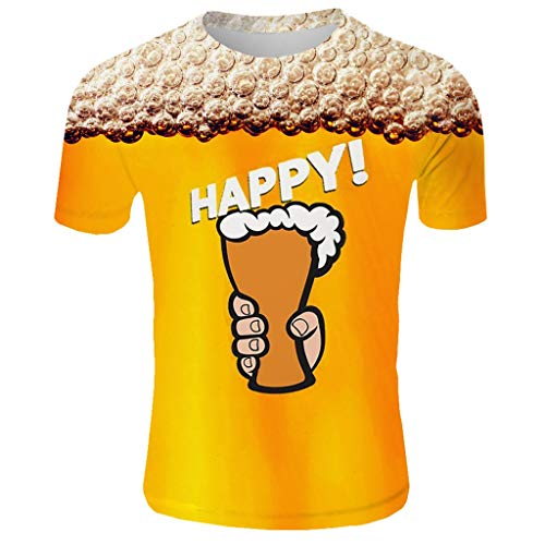 Answerl Unisex Fashion Beer Print T-Shirts Funny Graphics Cheers Pattern Crewneck Short Sleeve Tees for Mens Womens Gold