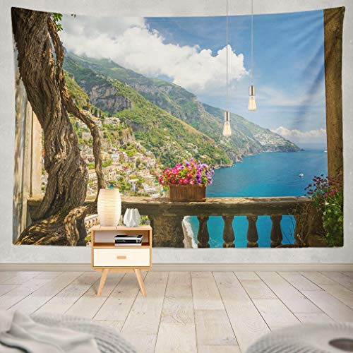 KJONG Beautiful Town from Antique Terrace with Flowers Coast Italy with Flowers Italy Antique Terrace Mediterranean Decorative Tapestry,50X60 Inches Wall Hanging Tapestry for Bedroom Living Room -