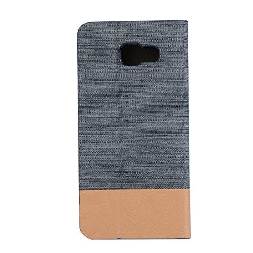 Para la galaxia A5 (2016) / A510 de Samsung patrón de la textura de la lona PU + TPU cubierta horizontal de la caja del cuero del tirón con las ranuras del portatarjetas y de tarjeta by diebelleu ( Co Black