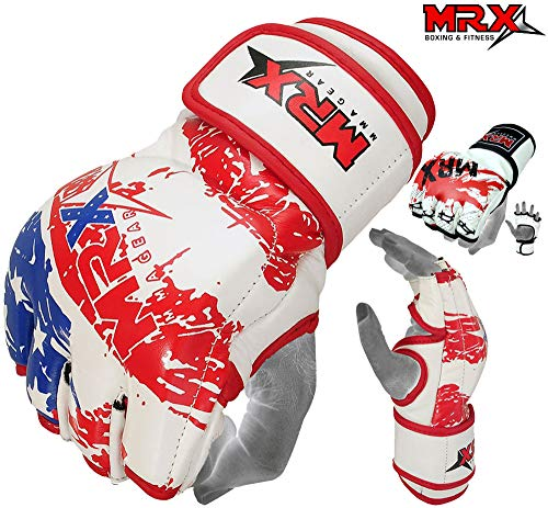 MRX MMA Gloves UFC Grappling Cage Fight PU Leather, US Flag ()