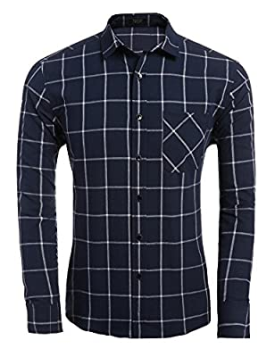 Coofandy Men's Casual Button Down Long Sleeve Dress Shirts Tops Plaid Shirts
