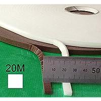 Selbstklebender Zugluftstopper aus Schaumstoff für Spalten 1-4 mm, 20 m lang, weiß