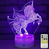 INSONJOHY Kids Night Lights Bedside Lamp 7 Colors Change Remote Control Timer 3D Night Light Kids Optical Illusion Lamps Kids Lamp As a Gift Ideas Boys Girls (Unicorn)