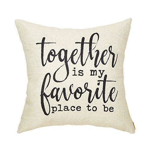 (Fahrendom Rustic Decoration Together is My Favorite Place to Be Farmhouse Décor Sweet Home Sign Cotton Linen Home Decorative Throw Pillow Case Cushion Cover with Words for Sofa Couch 18 x 18 in)