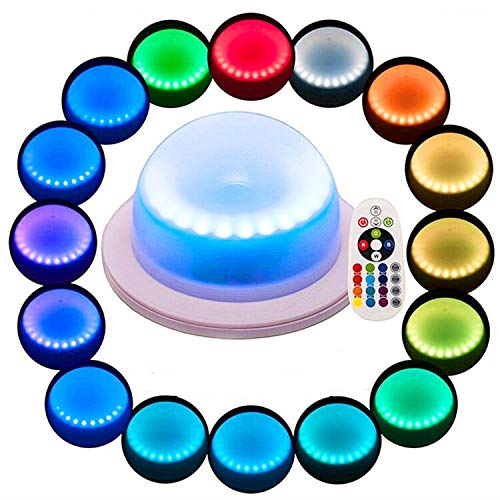 (LACGO (Pack of 1) LED 16 Color Options Remote Control Chargable Wedding Under Table Light, Waterproof LED Garden Light, Multi-Coloured Swimming Pool Light for Hotels, Bars, Home Indoor Outdoor)