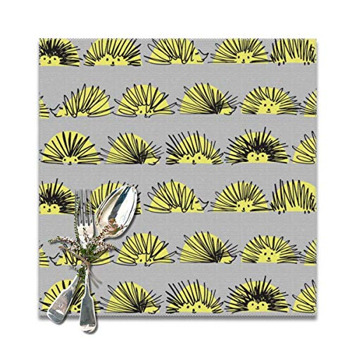 Squiggle Stripe - Miliface Placemats Set of 6 for Dining Table Hedgehog Squiggles Stripe_1178 Heat Resistant Kitchen Table Mats