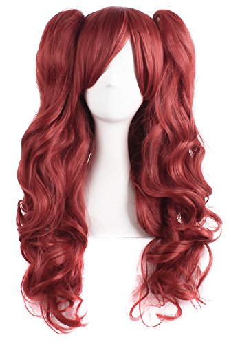 [MapofBeauty Lolita Long Curly Clip on Ponytails Cosplay Wig (Bronze Red)] (Long Red Wigs)