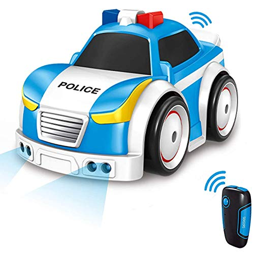 Masefu Car Toys for Kids, Police Car Toys with Lights Sounds, 4 Modes - 2.4 GHz Remote Control / Track / Follow / Obstacle Avoidance, Toy Police Car for Boys Girls Infants Toddlers (Blue)