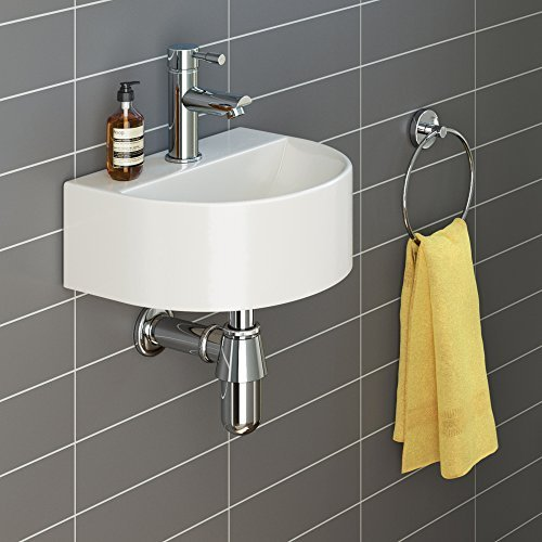 iBathUK | Modern Round Ceramic Small Cloakroom Basin Compact Bathroom Sink CA1005 by iBathUK by iBathUK