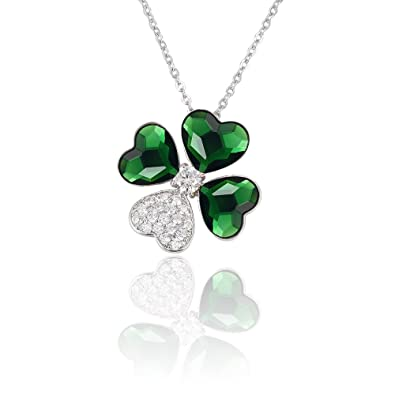 26edc905e5aaf3 Image Unavailable. Image not available for. Color  XUPING Lucky Four Leaf  Clover Crystals from Swarovski Pendant ...