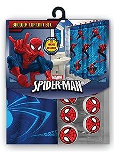 Marvel All New Fabric Shower Curtain Set 12 Matching Hooks Spiderman