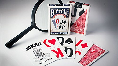 BICYCLE LARGE PRINT BRIDGE SIZE PLAYING CARDS 12 DECKS (6 RED & 6 BLUE) by Bicycle