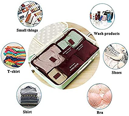 Xixou 6 Pcs Waterproof Clothes Packing Cubes Travel Luggage Organizer Bag