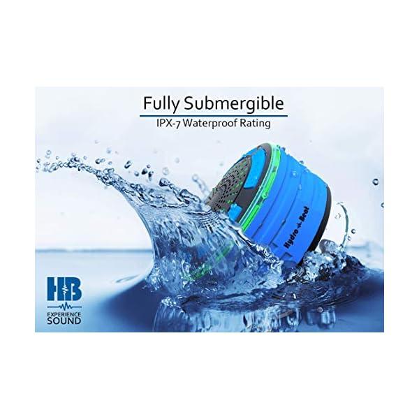Radios de Douche - Hydro-Beat Illumination. Haut-parleur IPX7 portable entièrement étanche à l'eau avec radio FM intégrée et lumières d'ambiance LED. Rechargeable à l'aide de micro USB. (Bleu et Noir) 2