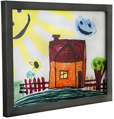 RAS Kids Art Frame - Boxed Style Wide Frame Edge Construction Paper Removable Acrylic Pane Cardboard Backing with Hooks - [Black - 9x12''] by RAS for Kids (Image #2)