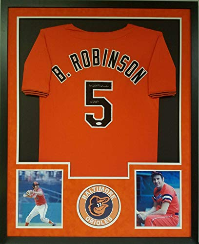 Brooks Robinson Autographed Jersey - Orange Pro Style Custom Matted F - Autographed MLB Jerseys