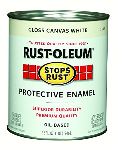 Rust-Oleum 7789502 Stops Rust Protective Enamel Paint, Quart, Gloss Canvas White - No Rust White Metal Paint