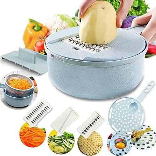 野菜カッター、8-in-1プレーナー、野菜カッター、チーズグラインダー、4ステンレススチールブレードドリップトレイタンパク質食品保存容器用の個別ハンドガード