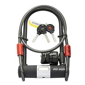 via velo premium bike u lock dia 15mm u shackle heavy duty lock with cable and. Black Bedroom Furniture Sets. Home Design Ideas