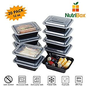 NutriBox [20 value pack] single one compartment 12oz mini Meal Prep Food Storage Containers - BPA Free Reusable Lunch bento Box - Microwave, Dishwasher and Freezer Safe - for School Work or Trips