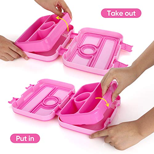 Kids Lunch Box Bento Box for Kids Nomeca BPA-Free Leak Proof 4-Compartment Lunch Container with Spork, Microwave Safe Portion Control Meal Fruit Snack Packing for Girls Toddler School Travel -Hot Pink