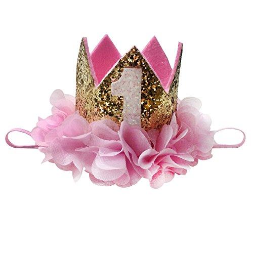 Baby Princess Tiara Crown, Aiernuo Kids First Birthday Rose Headband Hair Accessories