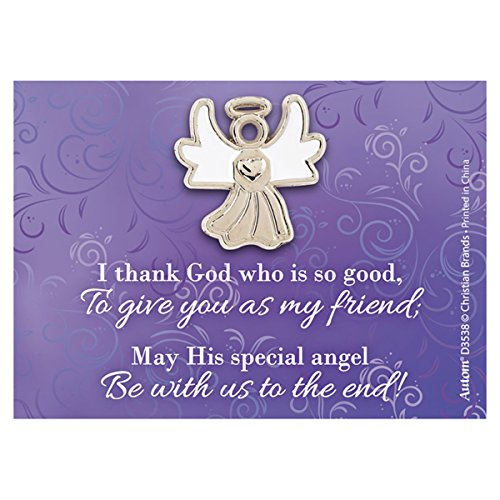 (lapel pin Silver Toned White Enamel Guardian Angel with Thank You Card, 1 Inch )