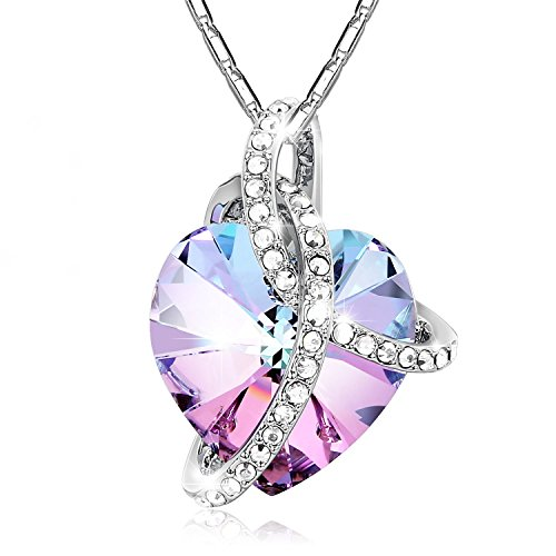 Mother's Day Gift-Adan Banfi 925 Sterling Silver Purple Blue Heart Pendant Chain (Gemstone Heart Necklace)
