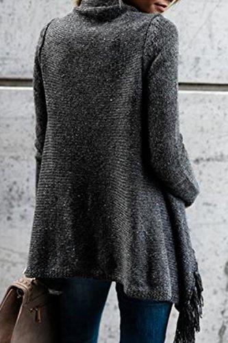 Invierno La Casual Cardigan Grey Zilcremo con Mujer Calidos Borlas Espesar Sólido Irregulares Abrigos Flecos q461UCwx