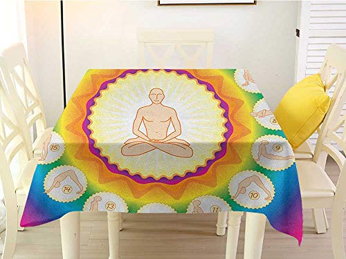 (L'sWOW Square Tablecloth Cover Yoga Yogi in The Lotus Posture and Exercises in Several Positions Surya Namaskar Vitality Multicolor Wrinkle 50 x 50)