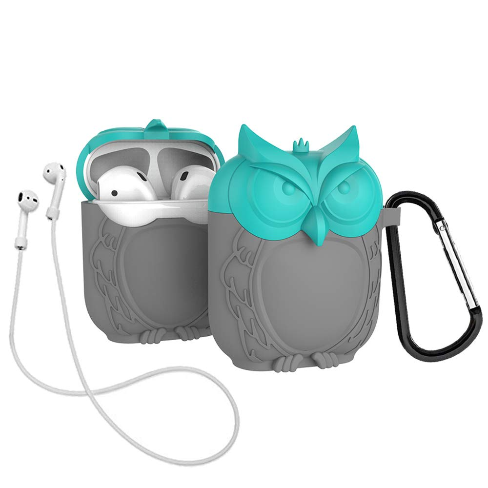 Lovekiss Cute Owl Pouch Compatible for Apple Airpods Case Air Pods Charging Box Cover Cartoon Protective Silicone Sleeve Shockproof Drop Proof with ...