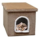 Cat Litter Box Enclosure in Brown Carpet Large Cat Litter House with Cover