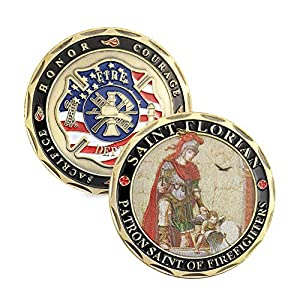 Saint Florian Volunteer Firefighters Prayer Challenge Coin from Jia Ying Xin