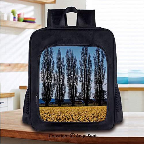 Daffodil Field Farming Washington Valley Northwest Art Print Printed Kids School Backpack Cool Children Bookbag,Blue ()