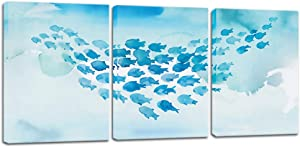 Biuteawal - 3 Piece Fish Canvas Wall Art Whale Gam Painting Blue Sea Art Wall Decor Modern Sea Animal Picture for Office Living Room Bathroom Stretched and Framed Ready to Hang