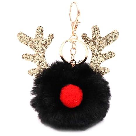 Cupcinu Llavero pompón de astas de Navidad Decoracion ...